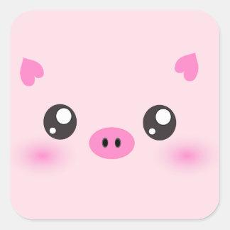 Cute Pig Face - kawaii minimalism Square Sticker