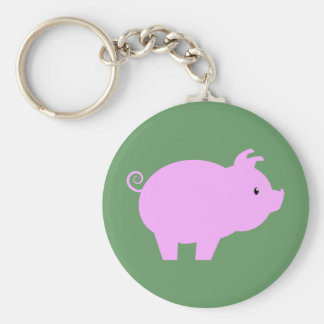 Cute Piglet Silhouette Basic Round Button Key Ring