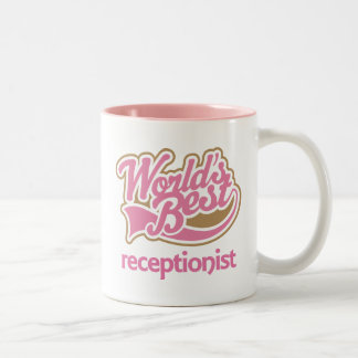 Cute Pink Award Worlds Best Receptionist Two-Tone Mug