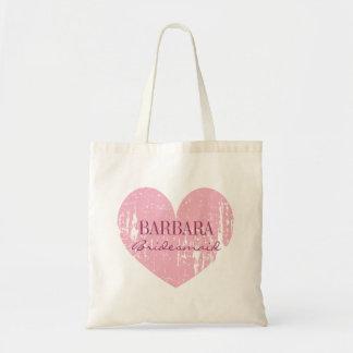 Cute pink bridesmaid tote bags   vintage heart