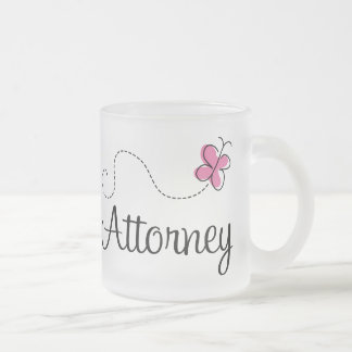 Cute Pink Butterfly Attorney Frosted Glass Mug