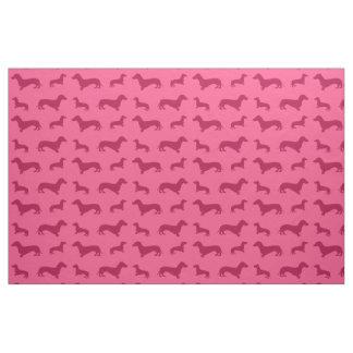 Cute pink dachshund pattern fabric