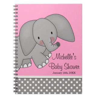 Cute Pink Elephant Baby Shower Guest Book Spiral Notebooks