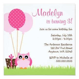 Cute Pink Owl Balloons Birthday Invitations