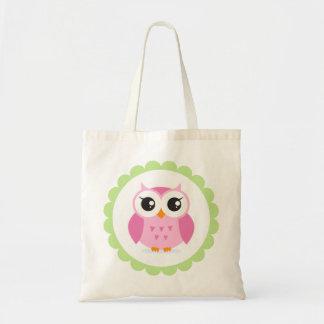 Cute pink owl cartoon inside green border budget tote bag