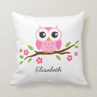 Cute pink owl on floral branch personalized name cushions