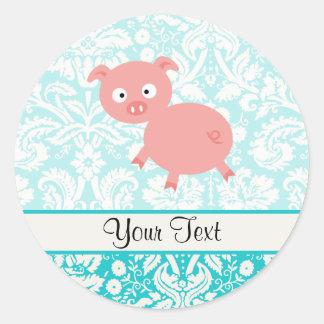 Cute Pink Pig; Teal Damask Round Sticker