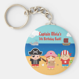 Cute Pirate Themed Kids Birthday Party Favors Basic Round Button Key Ring