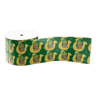 Cute Puppy Irish Shamrock Grosgrain Ribbon