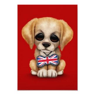 Cute Puppy with British Flag Pet Tag, Red 9 Cm X 13 Cm Invitation Card