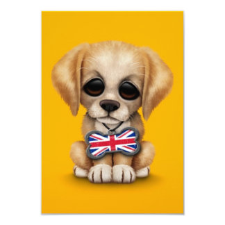 Cute Puppy with British Flag Pet Tag, Yellow 9 Cm X 13 Cm Invitation Card