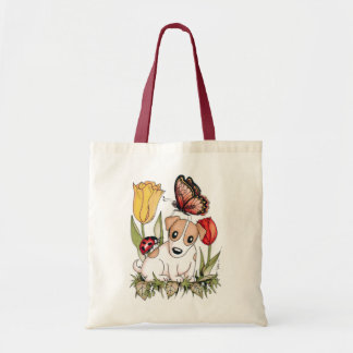 Cute Puppy with Butterfly, Ladybug and Tulips Budget Tote Bag