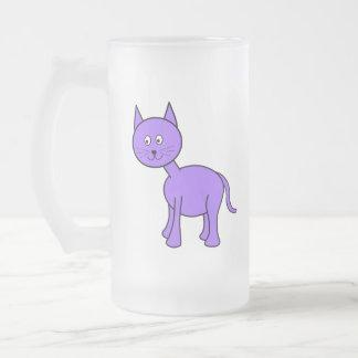 Cute Purple Cat Cartoon. Frosted Glass Mug