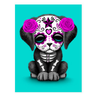 Cute Purple Day of the Dead Puppy Dog Blue Postcard