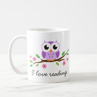 Cute purple owl on floral branch I love reading Basic White Mug