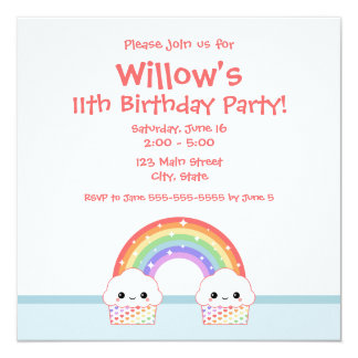 Cute Rainbow Cupcakes 13 Cm X 13 Cm Square Invitation Card