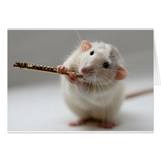 Cute rat playing flute greeting card