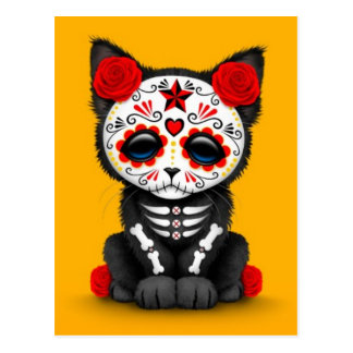 Cute Red Day of the Dead Kitten Cat, yellow Postcard