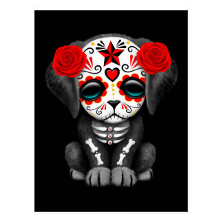 Cute Red Day of the Dead Puppy Dog Black Postcard