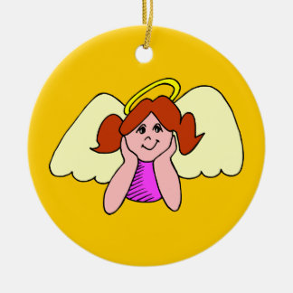Cute Red Hair Girl Christmas Angel Round Ceramic Decoration