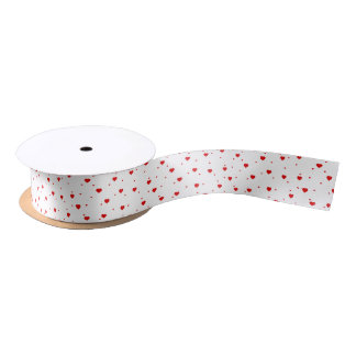 Cute Red Valentines Hearts Pattern Satin Ribbon