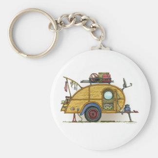 Cute RV Vintage Teardrop  Camper Travel Trailer Basic Round Button Key Ring