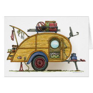 Cute RV Vintage Teardrop  Camper Travel Trailer Note Card
