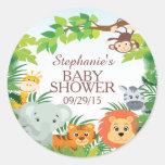 Cute Safari Jungle Baby Shower Favour Sticker