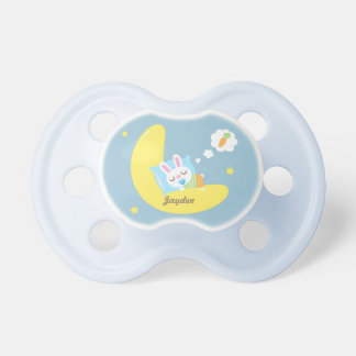 Cute Sleeping Bunny on Moon For Baby Boy Pacifiers