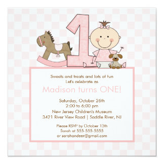 Cute Stick figure Girl 1st  Birthday Invitation