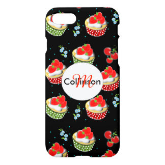Cute Strawberry and Cream Topped Yummy Cup Cakes iPhone 7 Case