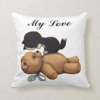 Cute Teddy Bear And Black Cat - My Love Throw Cushions