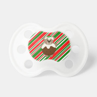 Cute Teddy Bear Dressed as a Christmas Pudding Baby Pacifier