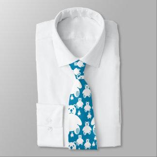 Cute Teddy Bears Pattern Blue Tie
