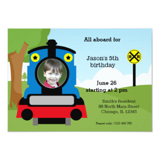 Cute train birthday 13 cm x 18 cm invitation card