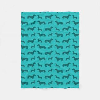 Cute turquoise dachshund pattern fleece blanket