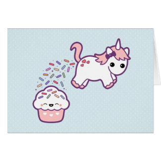 Cute Unicorn with Cupcake Greeting Card