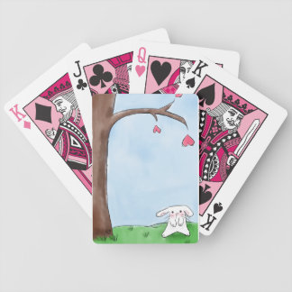 Cute white bunny sitting by a tree card deck