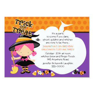 Cute Witch and Candy Halloween Birthday 13 Cm X 18 Cm Invitation Card