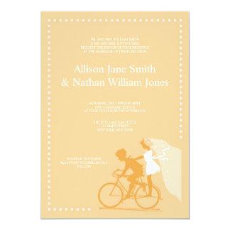 CUTE Yellow Bicycle Couple Wedding Invitation