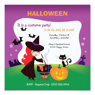 Cutest Kid Halloween Party with witch 13 Cm X 13 Cm Square Invitation Card