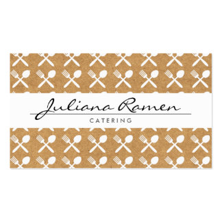 CUTLERY PATTERN on KRAFT PAPER for CATERING, CHEFS Pack Of Standard Business Cards