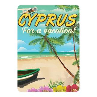 Cyprus vintage beach travel poster 13 cm x 18 cm invitation card