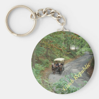 Czech Horse And Carriage Down A Forest Road Basic Round Button Key Ring