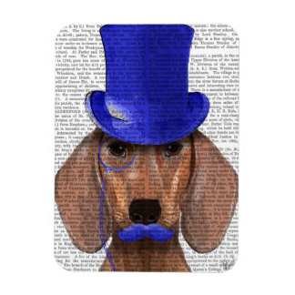 Dachshund With Blue Top Hat and Blue Moustache Rectangular Photo Magnet