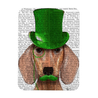 Dachshund With Green Top Hat and Moustache Rectangular Photo Magnet