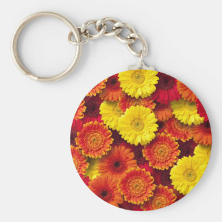 Daisies Background Basic Round Button Key Ring