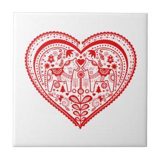 Dala Heart Small Square Tile