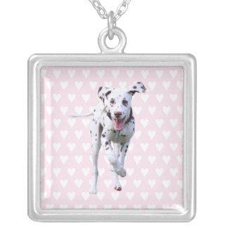 Dalmatian puppy dog necklace, gift idea square pendant necklace