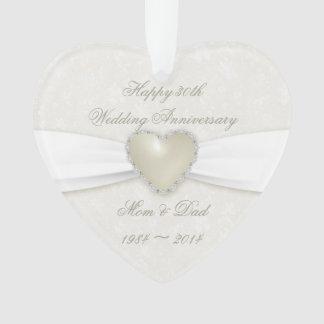 Damask 30th Wedding Anniversary Acrylic Ornament